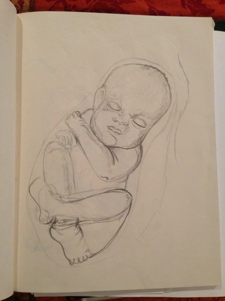While I was pregnant I was obsessed with drawing/painting fetuses.